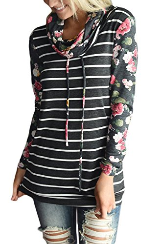 - Anatoky Womens Floral Printed Stripe Cowl Neck Drawstring Pullover Long Sleeve Sweatshirt Top