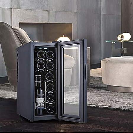 LLZH Vinoteca de 12 Botellas, Refrigerador Termoeléctrico para Bodega, Nevera de Vino de Humedad Constante de Encimera Pequeña, Control Digital, Puerta de Vidrio, Negro,Beech Wood Shelves