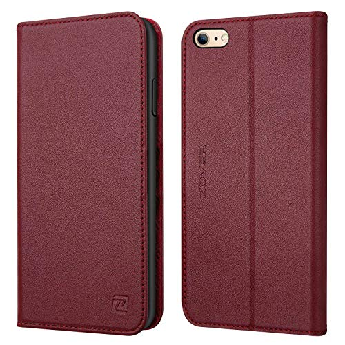 Wallet Style Leather Pouch Case - Zover iPhone 6S Case iPhone 6 case Genuine Leather Case Flip Folio Book Case Wallet Cover with Kickstand Feature Card Slots & ID Holder and Magnetic Closure for iPhone 6 and iPhone 6S Wine Red