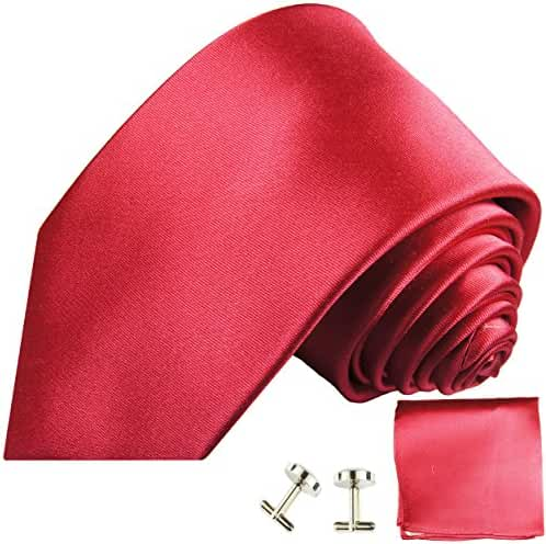 Paul Malone Necktie, Pocket Square and Cufflinks 100% Silk Solid hot Pink
