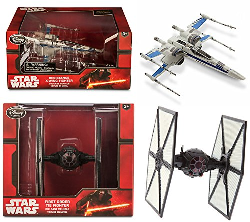 Star Wars: The Force Awakens Resistance X-Wing Fighter + First Order TIE Fighter Die Cast Vehicle
