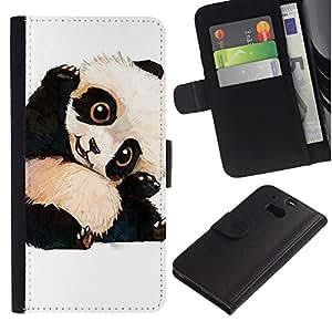 KLONGSHOP / Tirón de la caja Cartera de cuero con ranuras para tarjetas - Panda Bear Kids Children'S - HTC One M8