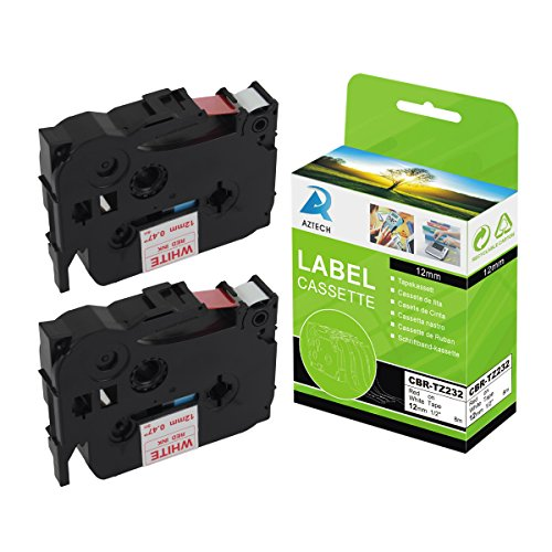 Aztech 2 Pack Label Tapes Replaces Brother TZ232 TZ-232 T...
