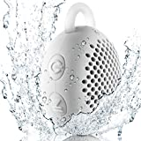 Gshine Waterproof Speaker-01 Siren WS-01 Driver Portable Speakers, Bluetooth Shower Speaker for Outdoor/Indoor/Bathroom with Built-in Microphone and Hook, White, 5W