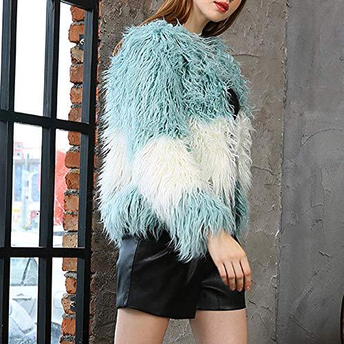 Cardigan sur manteau chaud veste taille couleur bleu S Zhrui épais Faux Casual femmes survêtement hiver Parka EP0qzU