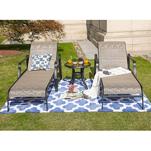LOKATSE HOME Outdoor Patio Adjustable Metal Chaise Lounge Chair Recliner Set of 2 with 1 Glass Top Bistro Table, Beige