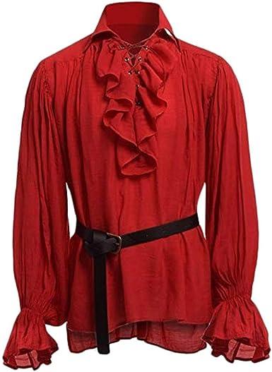 Geilisungren Camisas Manga Larga Medieval de Hombres Blusa de Hombre de Moda, Camisa Medieval de Manga Larga, Blusa de Hombre GóTico: Amazon.es: Ropa y accesorios
