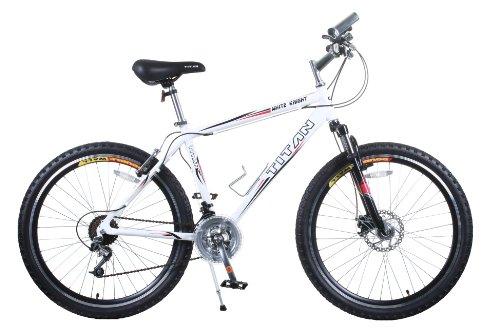 TITAN White Knight  Bicicleta montañera con suspensión de aluminio para hombres, con freno de disco, color blanco, 21...