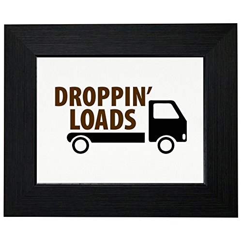 Dropping Loads - Funny Poop Dump Truck Framed Print Poster Wall or Desk Mount Options