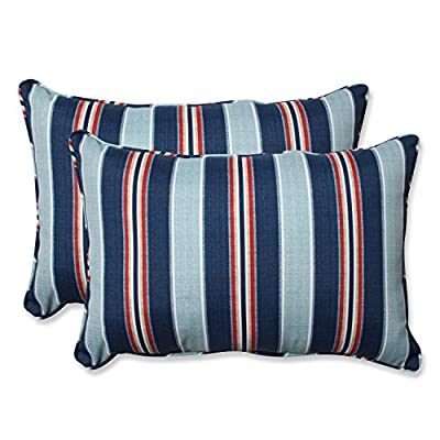 Pillow Perfect Outdoor/Indoor Kingston Stripe Arbor Over-Sized Rectangular Throw Pillow (Set of 2) - Includes two (2) outdoor pillows, resists weather and fading in sunlight; Suitable for indoor and outdoor use Plush Fill - 100-percent polyester fiber filling Edges of outdoor pillows are trimmed with matching fabric and cord to sit perfectly on your outdoor patio furniture - patio, outdoor-throw-pillows, outdoor-decor - 51r5WcCYu8L. SS400  -
