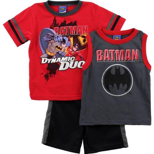 [Batman Boys Red Top Shorts Set 4WB2759E (6)] (Boys Batman Outfit)