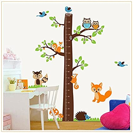 Altura Medición Árbol – Adhesivo decorativo para pared – papel pintado, diseño de animales para