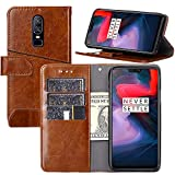 One Plus 6 Wallet Case,OnePlus 6 Case,Wallet Case for OnePlus 6[Stand Feature] Protective Quality Leather Flip Cover with Credit Cards Slot,Side Cash Pocket and Magnetic Clasp Closu (Brown)