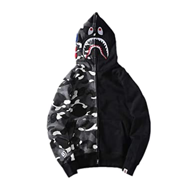 01395d83c999 BAPE Fashion Shark Camo Hoodie Sweater Jacket for Men Women at Amazon Men s Clothing  store