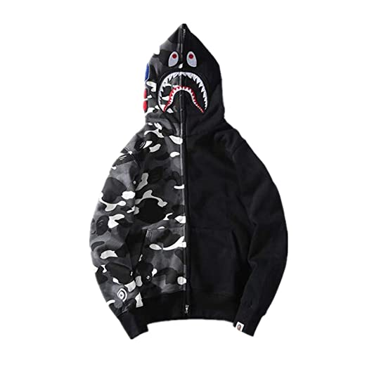 BAPE Fashion Shark Camo Hoodie Sweater Jacket for Men Women at Amazon Men s Clothing  store  ca4e5cf75