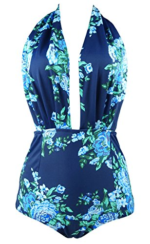 COCOSHIP Blue & Navy Antigua Floral Retro One Piece Backless Bather Swimsuit Pin Up Swimwear Maillot M(FBA)