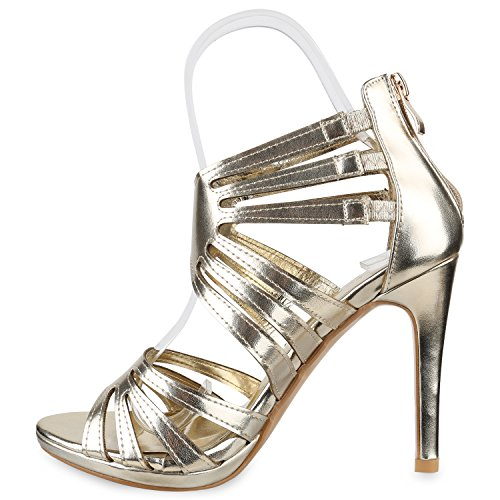Stiefelparadies Damen Sandaletten High Heels Schaftsandaletten Stilettos Lack Metallic Partyschuhe Nieten Strass Fransen Lace Up Schuhe Flandell Gold Metallic