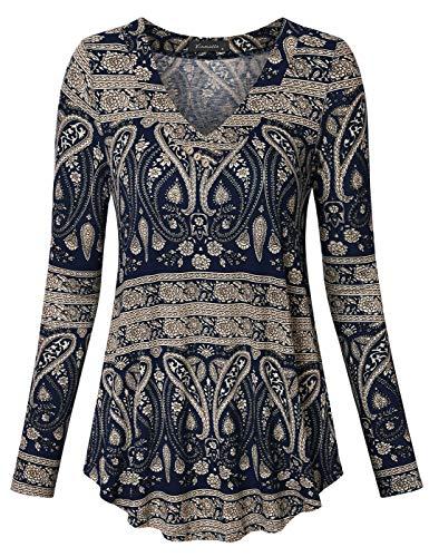 Top V-neck Knit Embellished - Vinmatto Women's Long Sleeve V Neck Flowy Tunic Top(M,Multi Deep Blue)