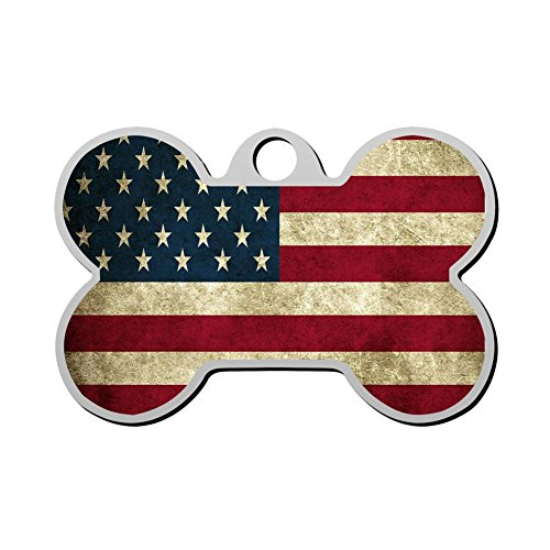 American Pet Tags - haopengyou American Flag Pet Id Tags Personalized Custom Print Bone Shape Dog Tags & Cat Tags
