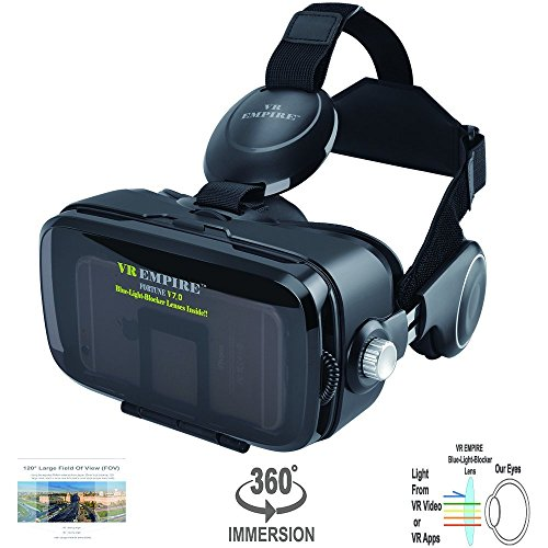 VR Headset 3D Glasses with 120° FOV, Anti-Blue-Light Lenses, Stereo Headset, for All Smartphones with Length Below 6.3 inch Such as iPhone & Samsung HTC HP LG etc. ()