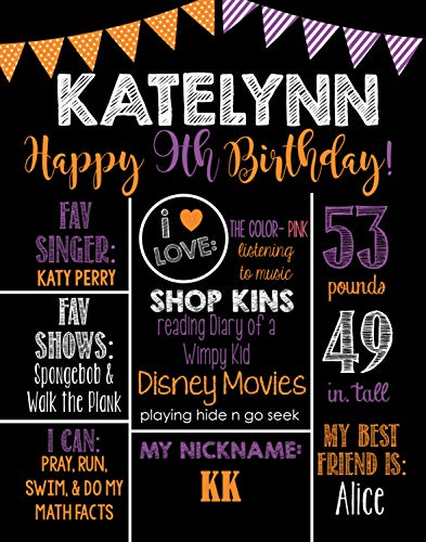 Dozili Personalized Fall - Halloween Birthday Chalkboard Style Metal Sign- Boys Birthday -Printable Birthday Chalkboard Style Metal Sign- Birthday Board- Personalized Custom Sign]()