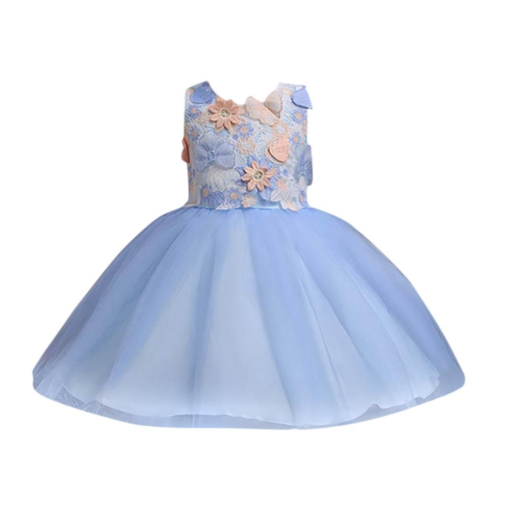 SMALLE◕‿◕ Clearance,Toddler Kids Girls Wedding Flower Dress Lace Princess Party Formal Dress Clothes