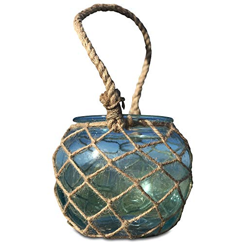 WHW Whole House Worlds Mariners Lobster Pot Netted Hurricane Candle Lantern, Globe Shape, Pale Aqua Marine, Jute, Rope Handles, Glass, 6 Inches Diameter, 5 Inches Tall