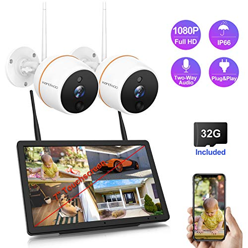 Wireless Security Camera System,Wandwoo 1080P Security Camera System with 2pcs 1080P Outdoor Cameras,Support 2 Way Audio,Outdoor Security Camera System Wireless with 32G SD Card Includes