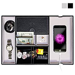 LUXURIOUS VALET TRAY & NIGHTSTAND ORGANIZER STYLISH PU LEATHER DESKTOP STORAGE ORGANIZER • Give it to your friend, husband, wife or family- This Valet tray is not only a wonderful gift for your family and friends but will also create an a...