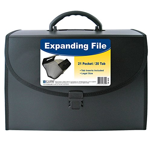 C-Line 21-Pocket Poly Expanding File with Handle, Includes Tabs, Locking Closure, Legal Size, Black (58320)
