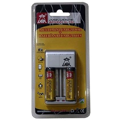 Cargador de pilas AA y AAA - Inluye 2 pilas recargables AA 3000 mAh - Laik Lk-52