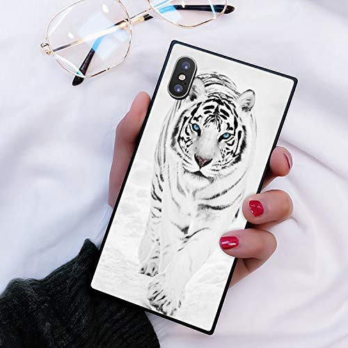 iPhone Xr Case Walking White Tiger Design Rectangle Full Body Shockproof Protective Phone Case Hard Plastic Black Frame Case for iPhone Xr LingHan