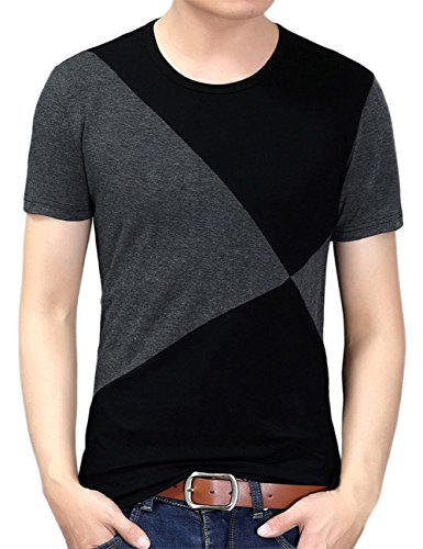 Yong Horse Casual Shirts for Men Short Sleeve Graphic Soft Slim Running Tees Black L