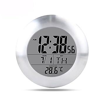 LOTOS Lotosimpermeable Baño Electrónico Digital Reloj De Pared Pulido De Aluminio Marco Temperatura Húmeda Pantalla Ventosa Campana: Amazon.es: Deportes y ...