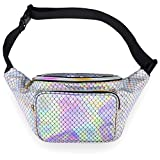 LEADO Holographic Fanny Pack for Women, Fashion Waist Pack for Rave, Festival, Party (Mermaid)