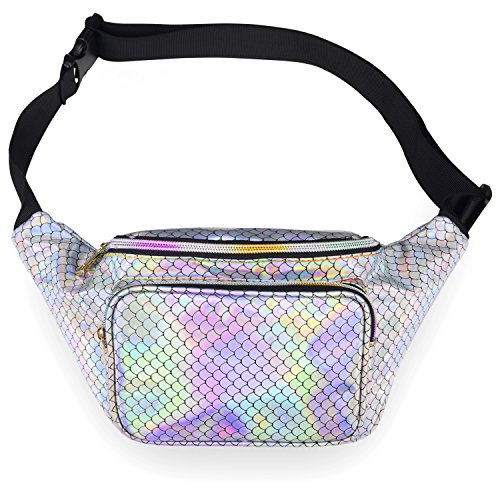 LEADO Holographic Fanny Pack for Women, Fashion Waist Pack for Rave, Festival, Party (Mermaid) -