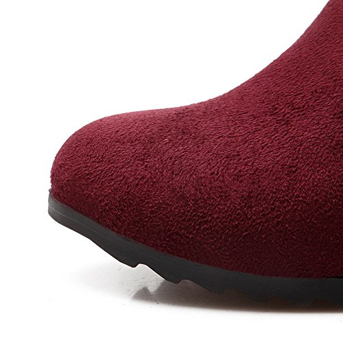 Inside and Allhqfashion Boots Red Suede Women's Frosted Sole Imitated Slipping Kitten Heels with Heighten xvr7YvwqO