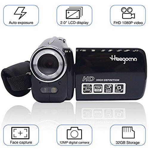 Heegomn Digital Video Camcorder, FHD 1080P 1920x1080 Video Camera 2.0 LCD 12MP Digital Video Recorder with 270 Degree Rotation Screen, Black
