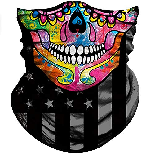 (Obacle Half Face Mask Sun Dust Wind Protection Durable Tube Face Mask Bandana Skull Skeleton Face Mask For Men Women Bike Riding Motorcycle Fishing Hunting Cycling Outdoor Sport Festival Many)
