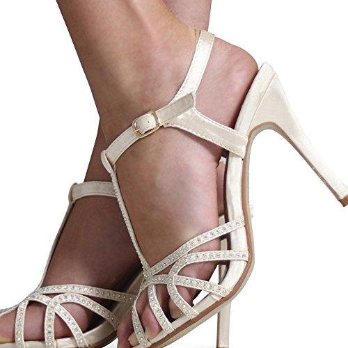 De Dames Mariage Cheville Collecte Taille De De Satin Femmes Bal 3 Noyau Nouvelles Bracelet 8 Diamante Chaussures Mariée Soirée Ivoire RwqPg