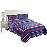 MarCielo 3 Piece Kids Bedspread Quilts Set Throw Blanket for Teens Boys Girls Bed Printed Bedding Coverlet, Full Size, Blue Striped (Full)