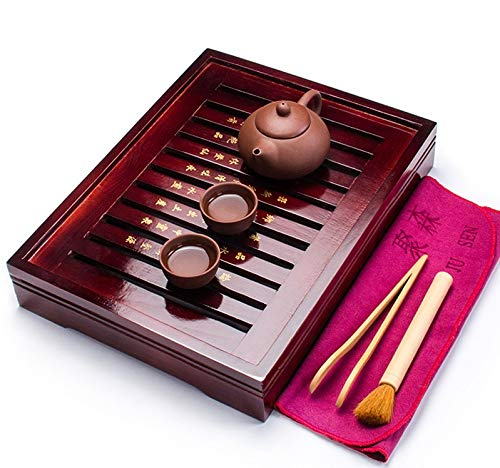 Best Quality - Tea Trays - Chinese Tea Tray & Purple Clay Teapot & 2 Tea Cups Ceramic TeaTool Tea Ceremony China Tea Set A031 - by VietGT - 1 PCs