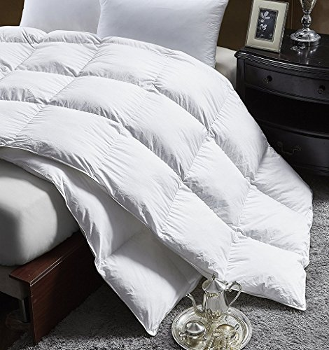 Luxurious King Size Lightweight GOOSE DOWN Comforter Duvet Insert All Season, Superior Baffle Box, 1200 Thread Count 100% Egyptian Cotton, 750+ Fill Power, 42 oz Fill Weight, White Color