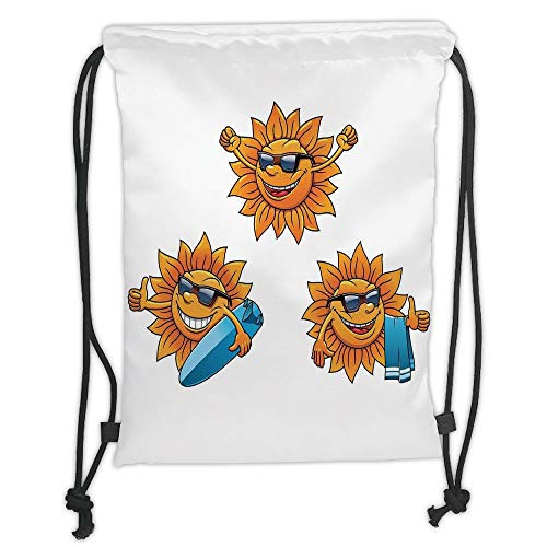 New Fashion Gym Drawstring Backpacks Bags,Cartoon,Surf Sun Characters Wearing Shades and Surfboards Fun Hippie Summer Kids Decor Decorative,Orange White Soft Satin,Adjustable Stri