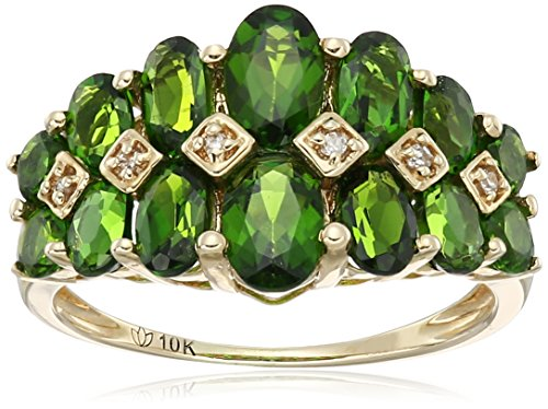 10k Yellow Gold Chrome Diopside and Diamond Accented Band Ring, Size 7