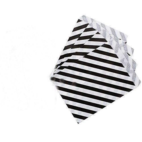 AKOAK 50 Pcs 5 x 7 Inches White and Black Striped Paper Bags,Holiday Wedding Christmas Favor Candy Treat Bags]()