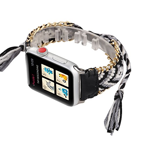 WONMILLE for Apple Watch Band 42mm Series 3 Series 2 and Series 1, Wristband Handmade Weave Straps National Rainbow Bracelet with Flexible Drawstring Clasp for Apple Watch (Black, 42mm) ()