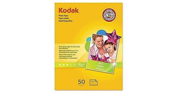 KODAK Photo Paper Gloss 8.5x11 41162-1213719 6.5 mil thickness 48lb-180g//m2 weight 50 count