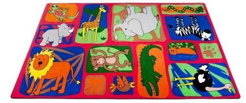 Kid Carpet FE733-22A My Buddies In The Jungle Nylon Area Rug 4' x 6' Multicolored [並行輸入品]   B07HLHQMJC