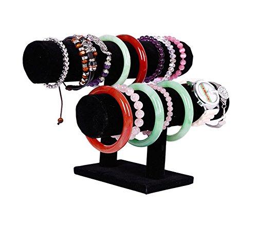Wuligirl 2 Tier T-Bar Jewelry Towers Display Stand Necklace Bangle Bracelet Watch Organizer Black Velvet (2 Tier)